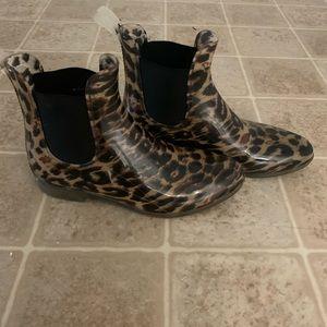 J. crew leopard rain booties